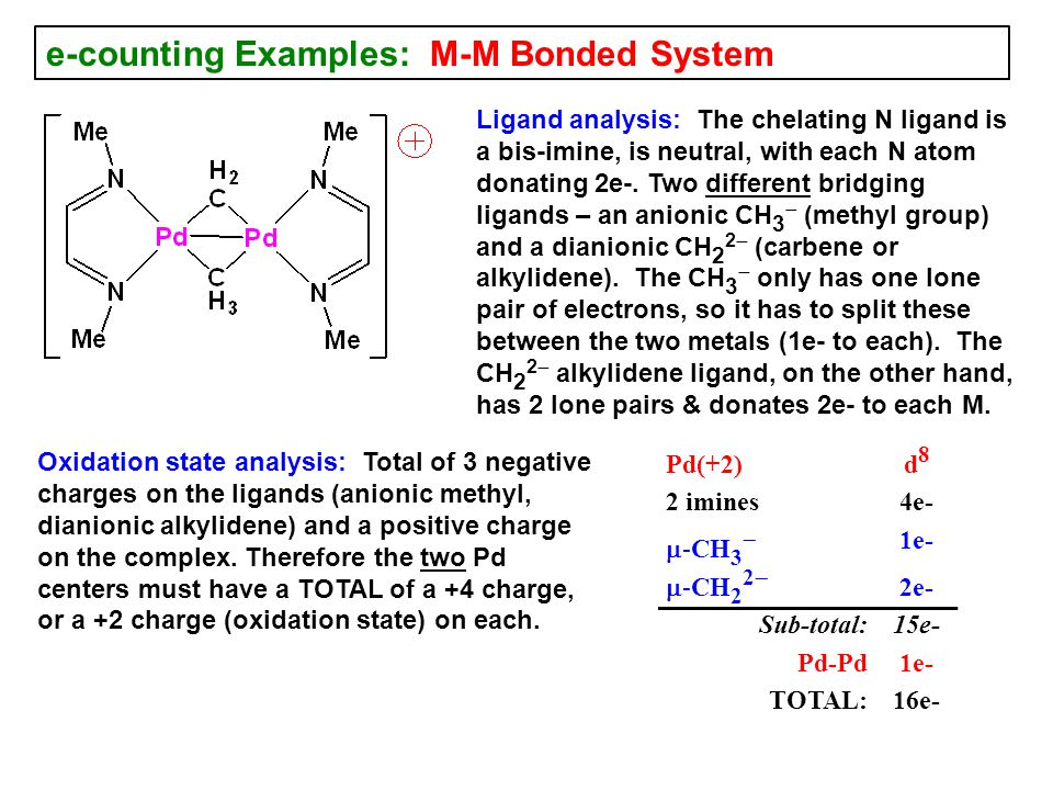 e-counting Examples: M-M Bonded System