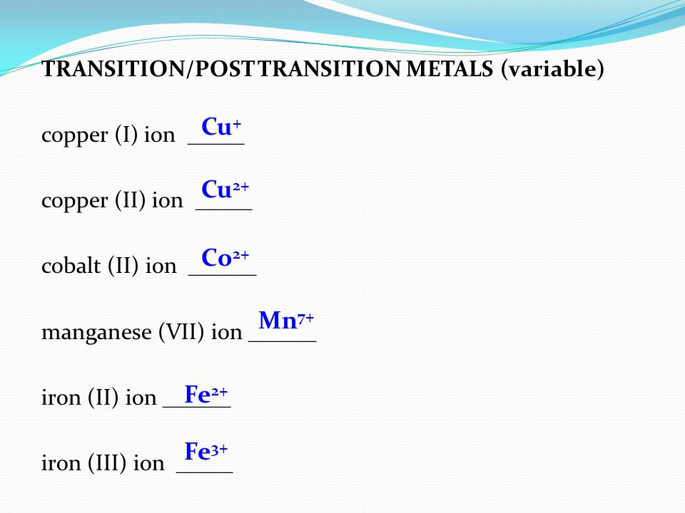 TRANSITION/POST TRANSITION METALS (variable) copper (I) ion _____ copper (II) ion _____ cobalt (II) ion ______ manganese (VII) ion ______ iron (II) ion ______ iron (III) ion _____