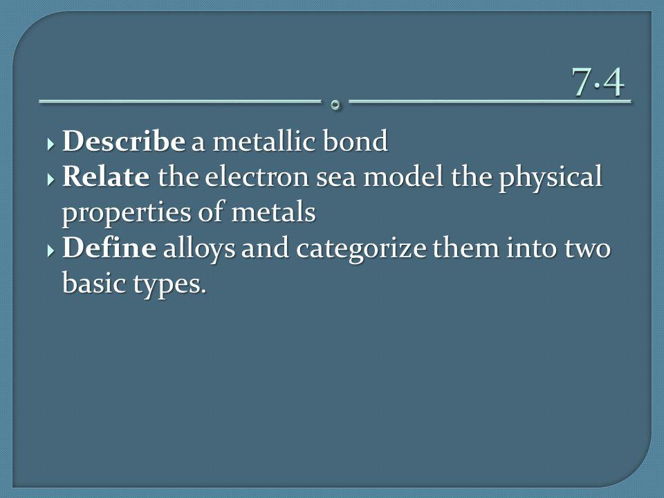 7.4 Describe a metallic bond