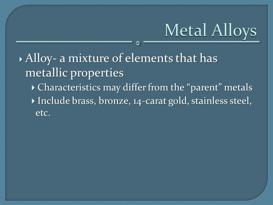 Metal Alloys Alloy- a mixture of elements that has metallic properties