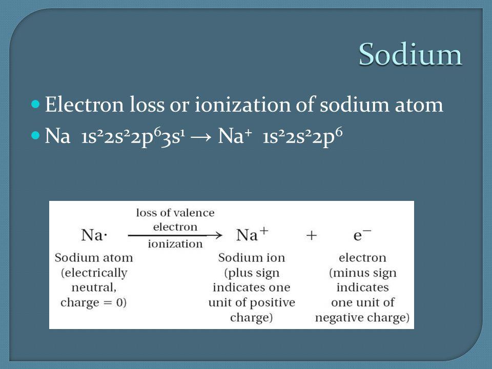 Sodium Electron loss or ionization of sodium atom