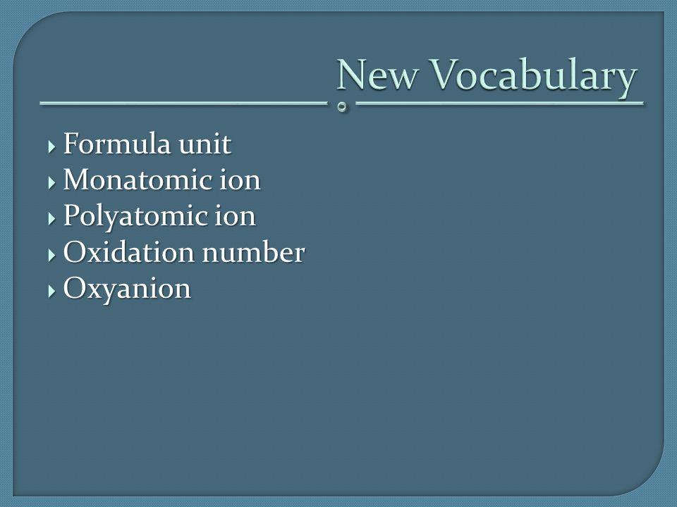 New Vocabulary Formula unit Monatomic ion Polyatomic ion