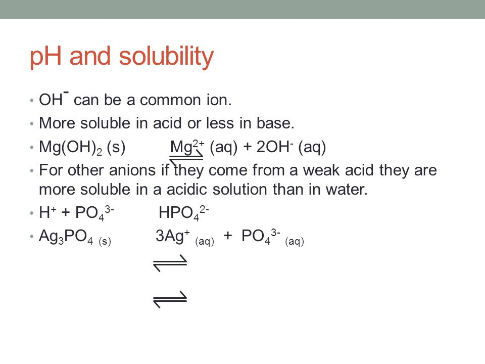 pH and solubility OH- can be a common ion.