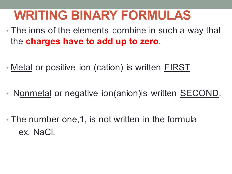 writing binary formulas Method is a short-cut to correct formula writing as long as we remember to simplify our subscripts in each box, write the formula of the ionic compound consisting of the positive ion  cs+ cr3+ na+ zn2+ al3+ title: microsoft word - 6-05-writing binary formulas wkstdoc author: brent white created date.