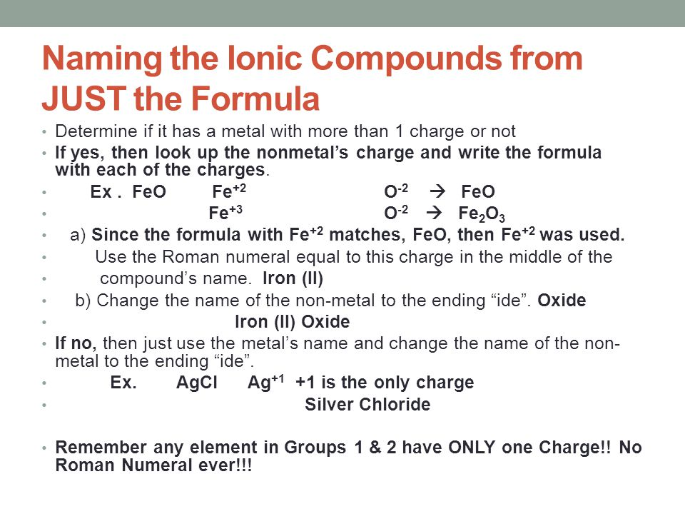 Naming the Ionic Compounds from JUST the Formula