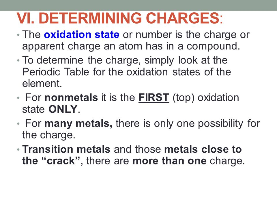 VI. DETERMINING CHARGES: