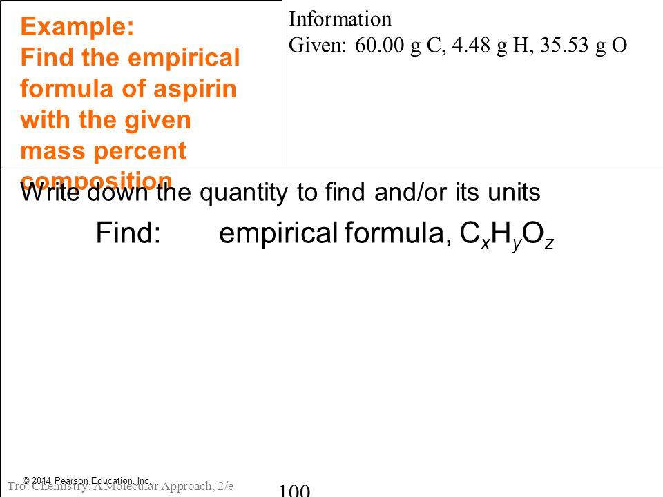 Find: empirical formula, CxHyOz