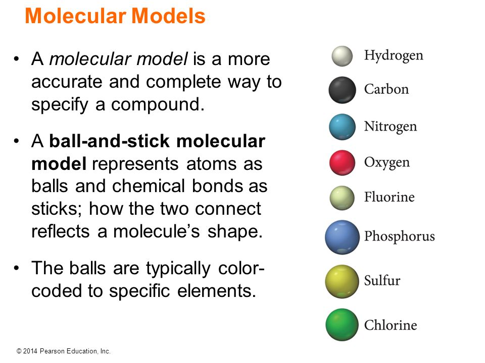 Molecular Models A molecular model is a more accurate and complete way to specify a compound.