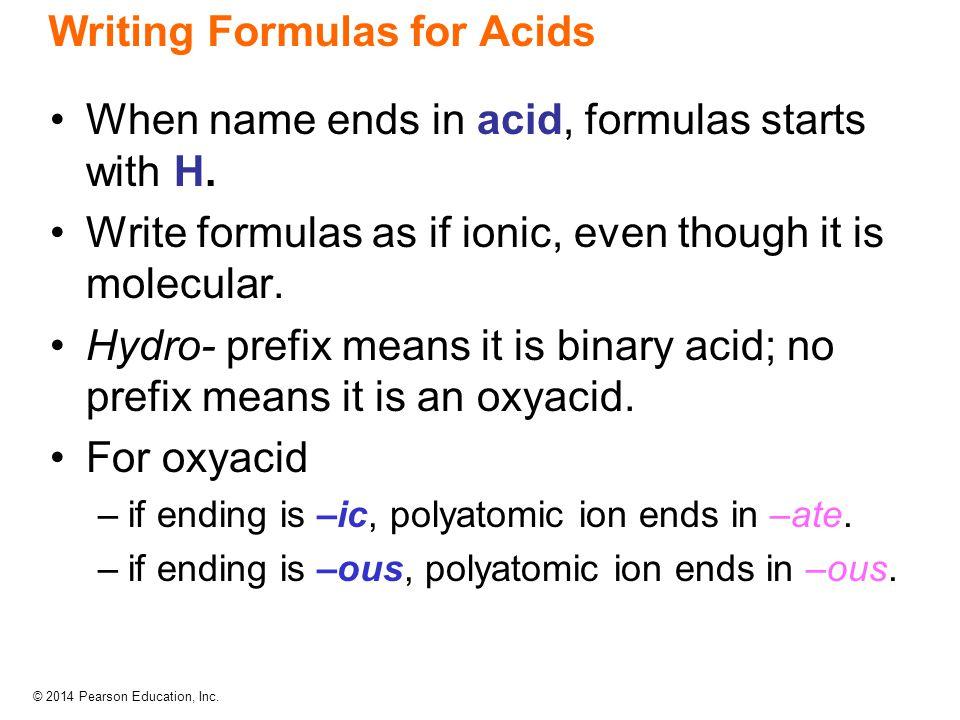 Writing Formulas for Acids