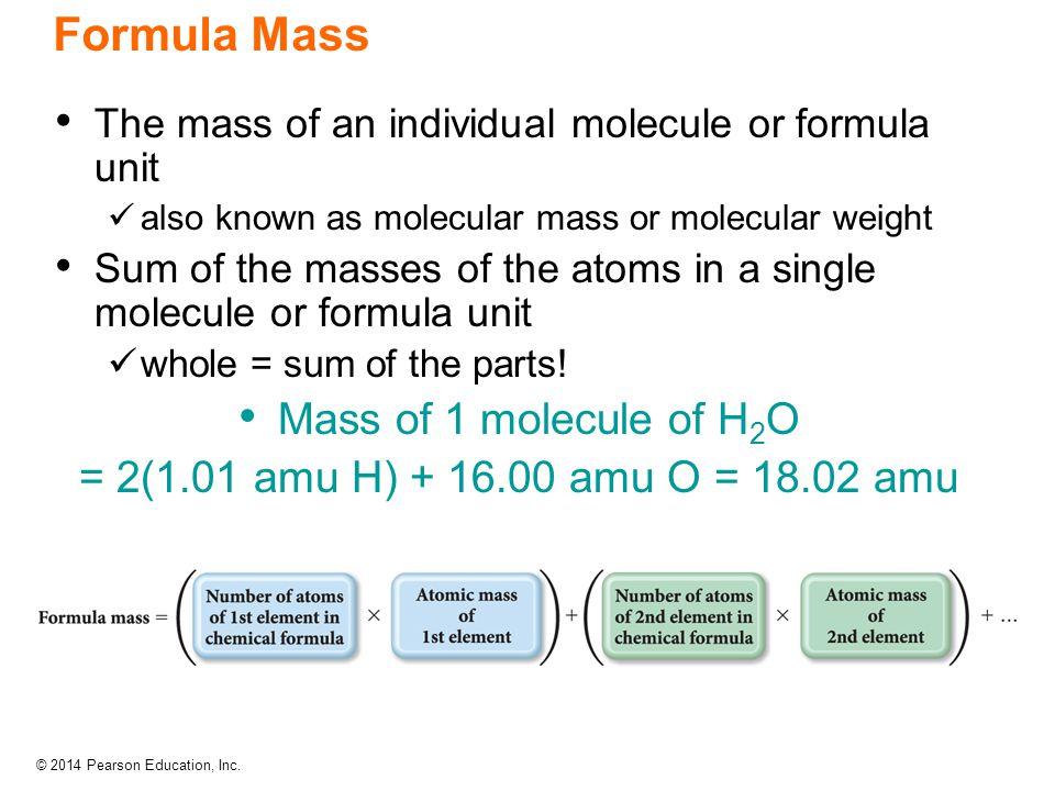 Formula Mass Mass of 1 molecule of H2O