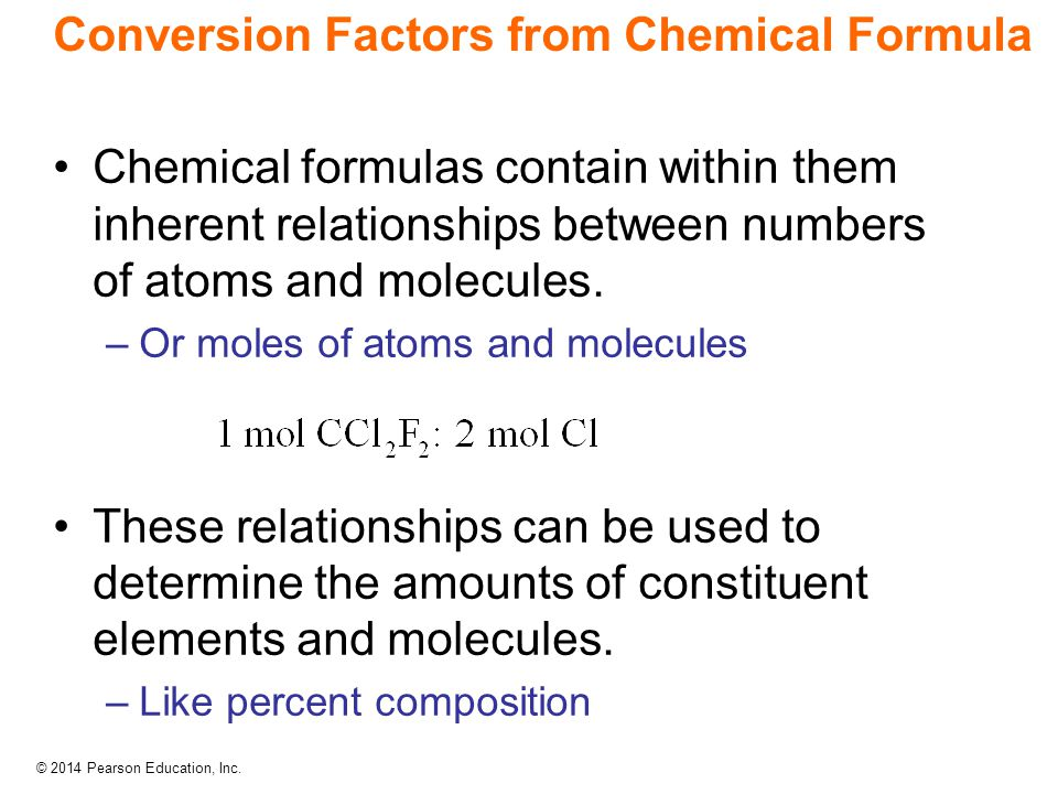 Conversion Factors from Chemical Formula