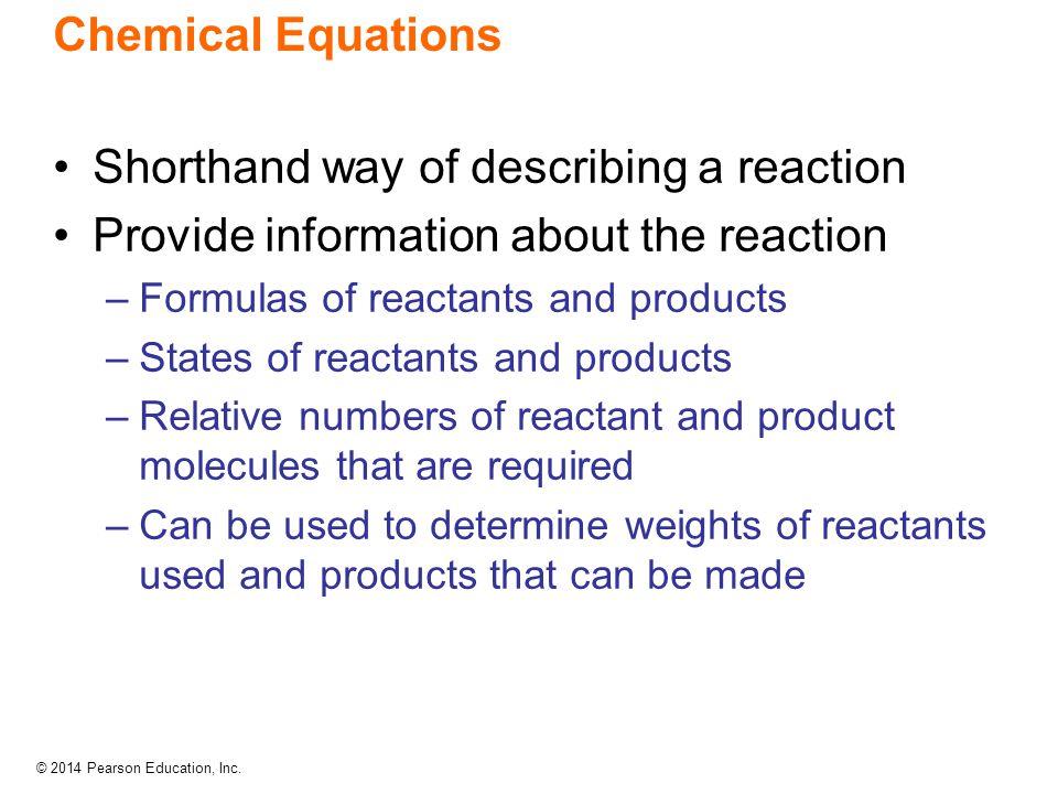 Shorthand way of describing a reaction
