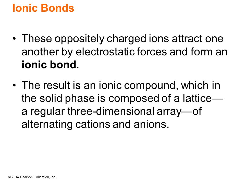 Ionic Bonds These oppositely charged ions attract one another by electrostatic forces and form an ionic bond.