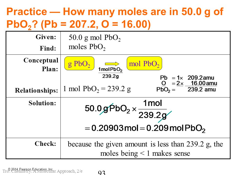 Practice — How many moles are in 50. 0 g of PbO2. (Pb = 207. 2, O = 16