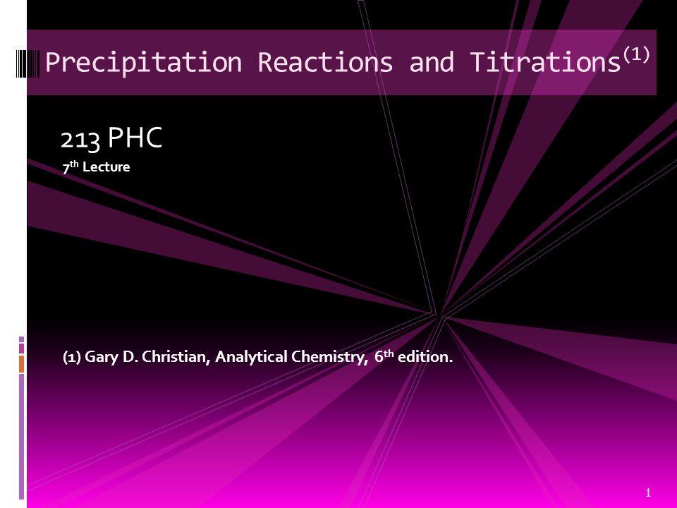 Precipitation Reactions and Titrations(1)
