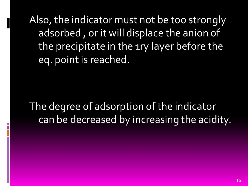 Also, the indicator must not be too strongly adsorbed , or it will displace the anion of the precipitate in the 1ry layer before the eq.