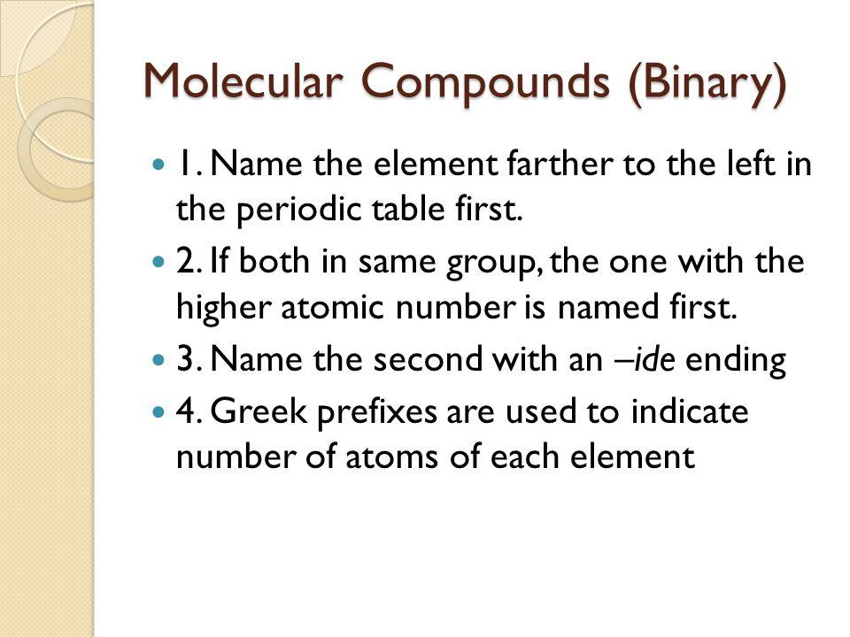 Molecular Compounds (Binary)