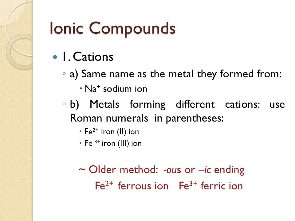 Ionic Compounds 1. Cations a) Same name as the metal they formed from: