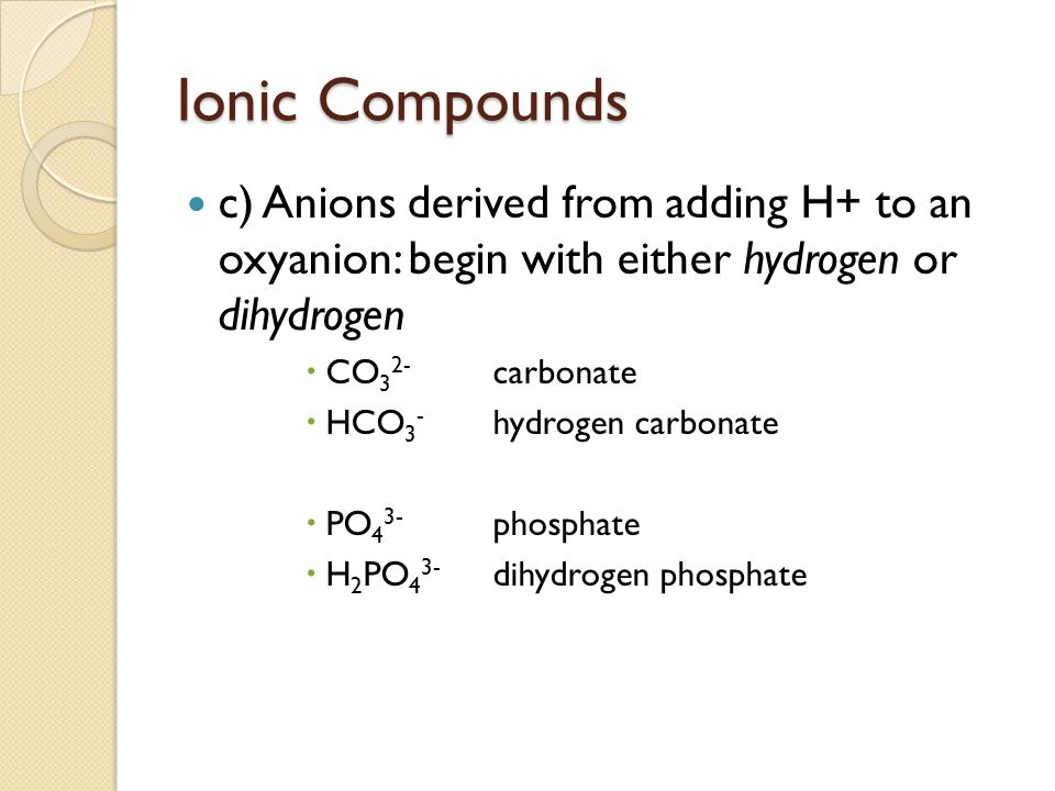 Ionic Compounds c) Anions derived from adding H+ to an oxyanion: begin with either hydrogen or dihydrogen.