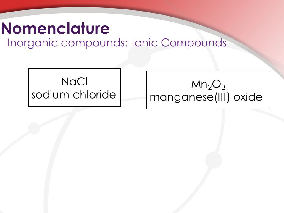 Nomenclature Inorganic compounds: Ionic Compounds NaCl Mn2O3
