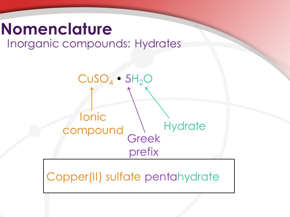 Nomenclature Inorganic compounds: Hydrates CuSO4  5H2O Ionic compound
