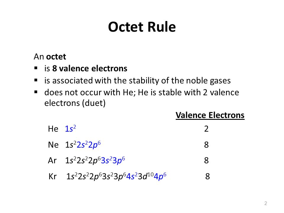 Octet Rule An octet is 8 valence electrons