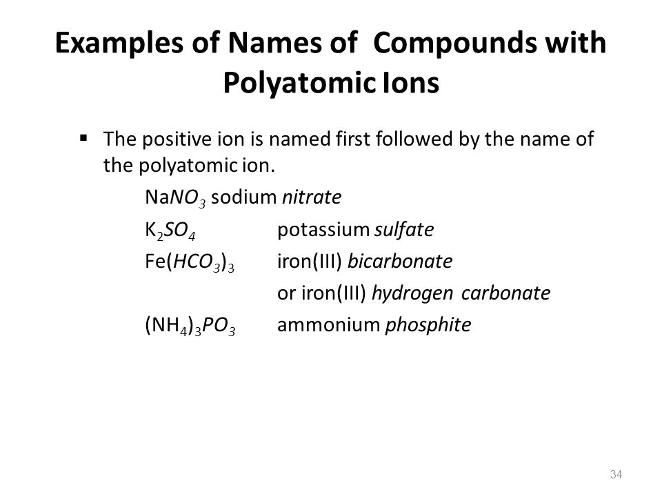Examples of Names of Compounds with Polyatomic Ions