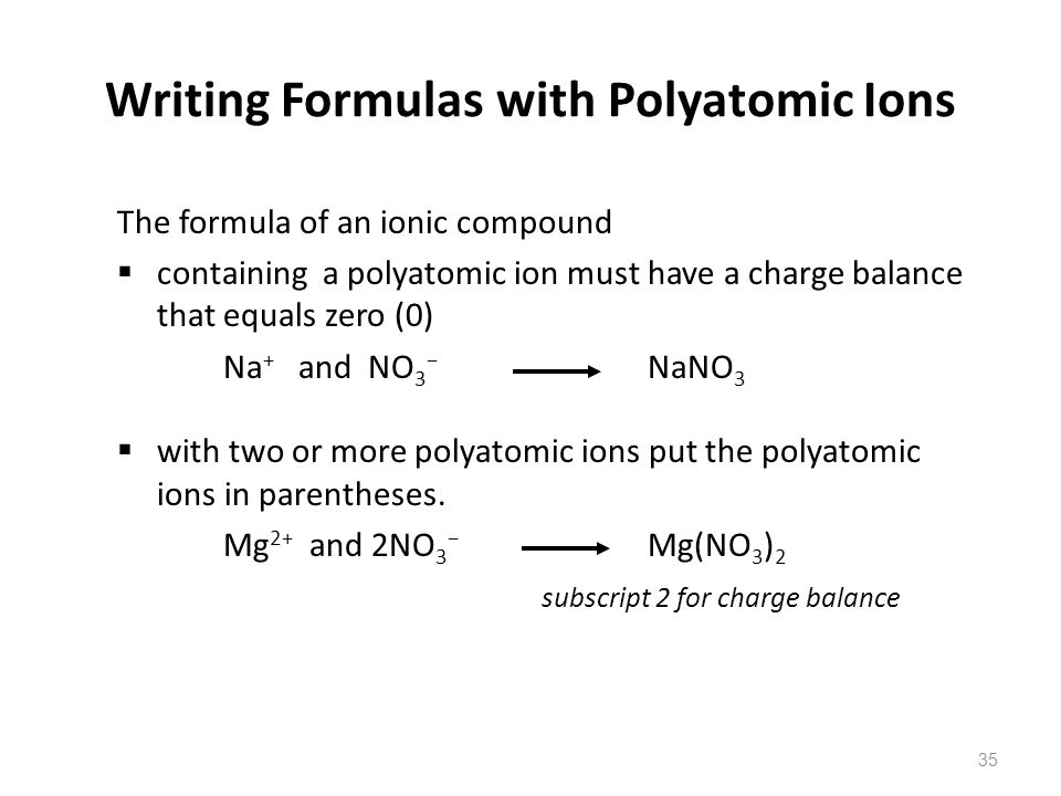 Writing Formulas with Polyatomic Ions