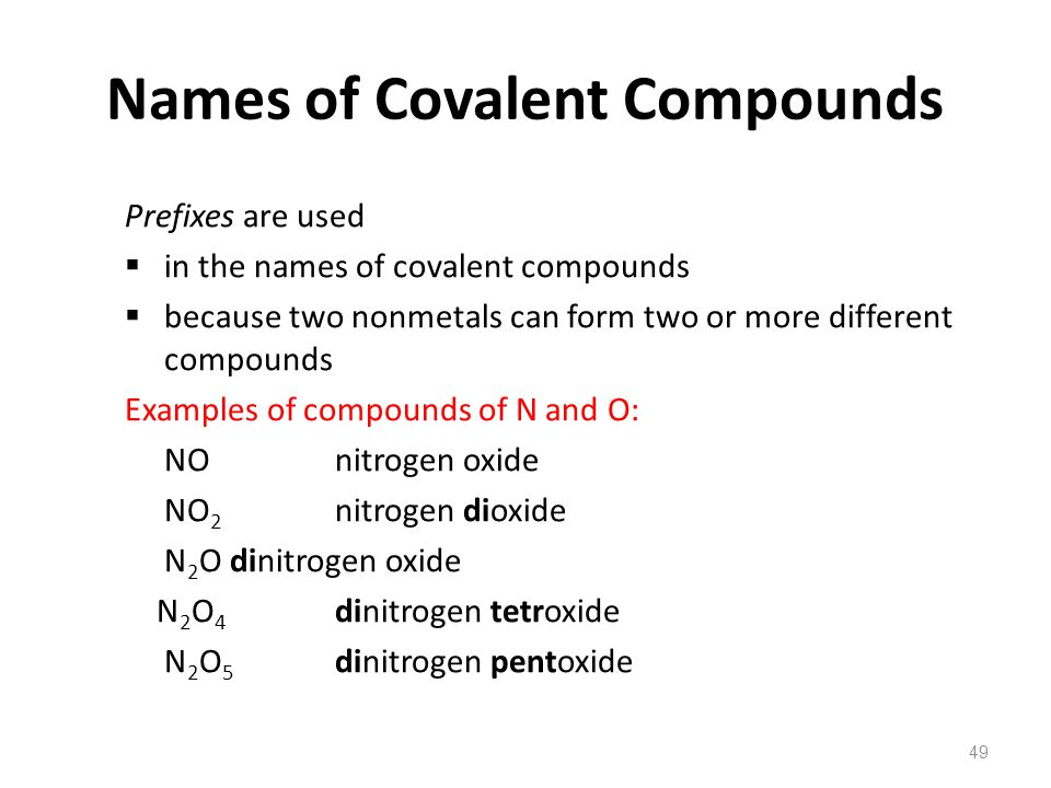 Names of Covalent Compounds