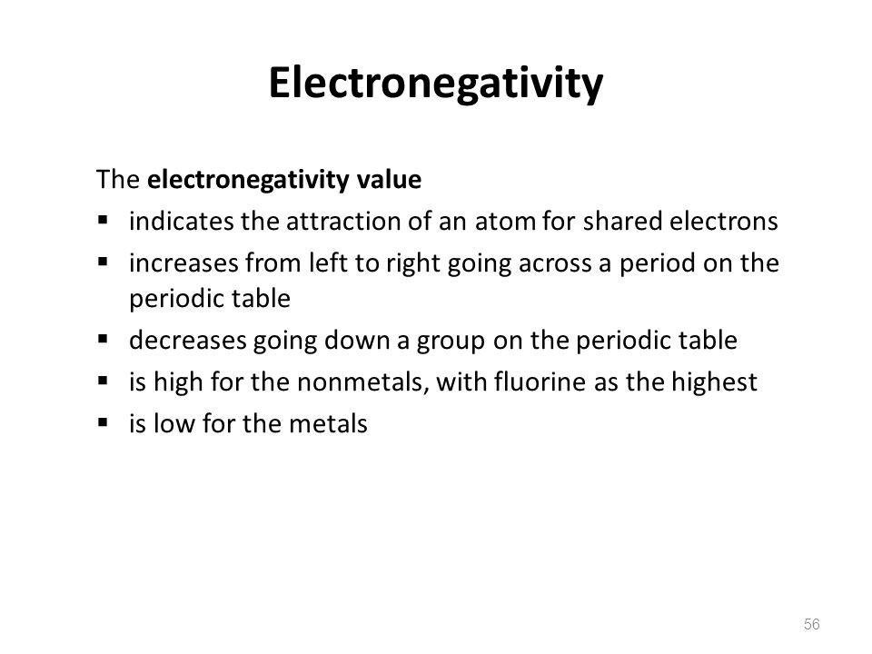 Electronegativity The electronegativity value