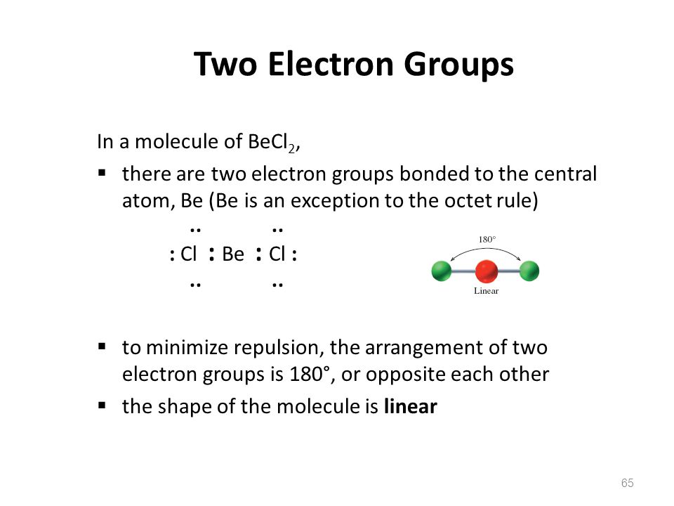 Two Electron Groups In a molecule of BeCl2,