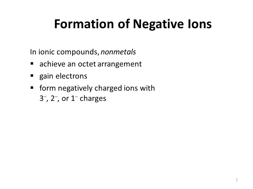 Formation of Negative Ions