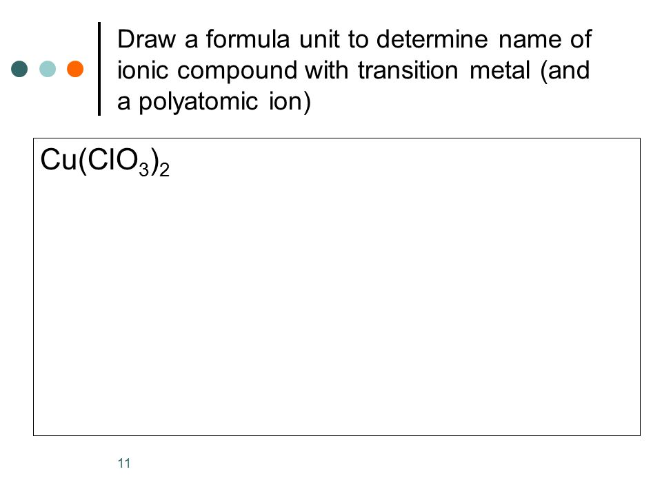 Draw a formula unit to determine name of ionic compound with transition metal (and a polyatomic ion)