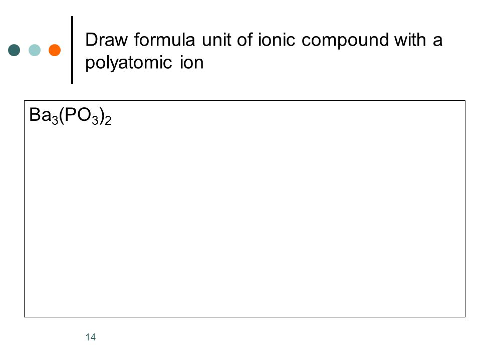 Draw formula unit of ionic compound with a polyatomic ion