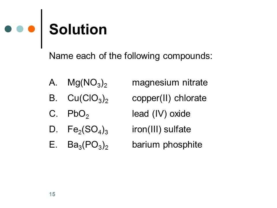 Solution Name each of the following compounds: