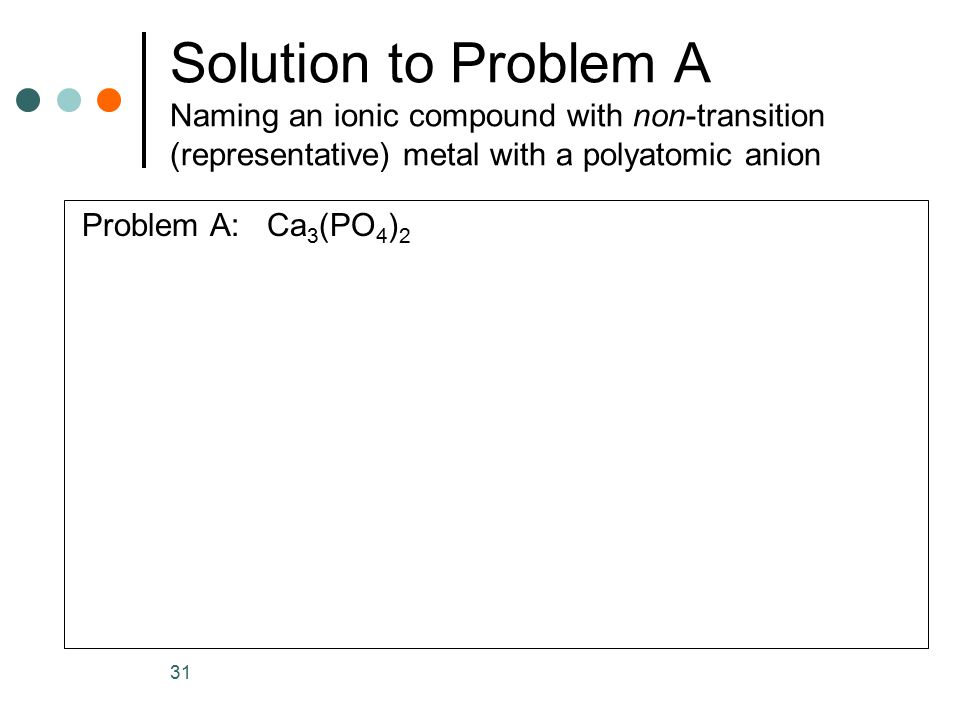 Solution to Problem A Naming an ionic compound with non-transition (representative) metal with a polyatomic anion