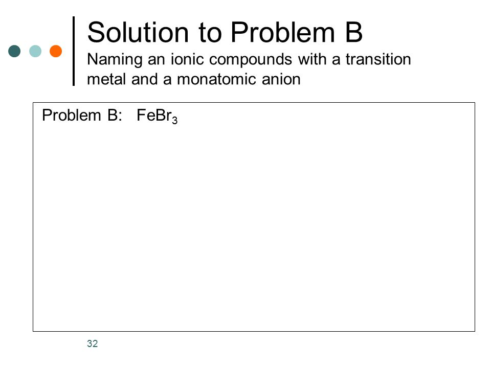 Solution to Problem B Naming an ionic compounds with a transition metal and a monatomic anion