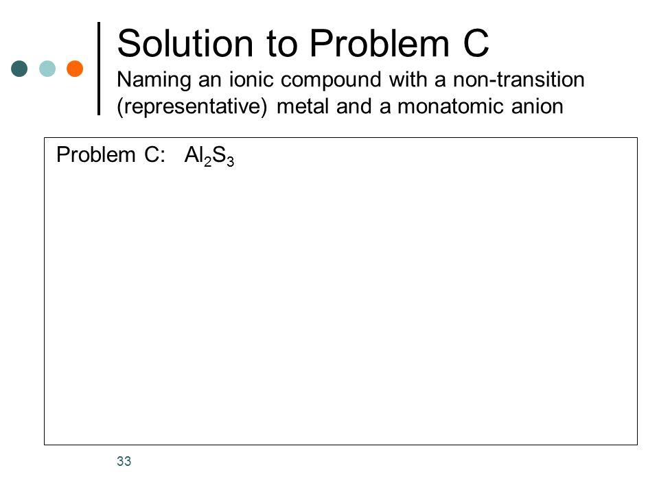 Solution to Problem C Naming an ionic compound with a non-transition (representative) metal and a monatomic anion