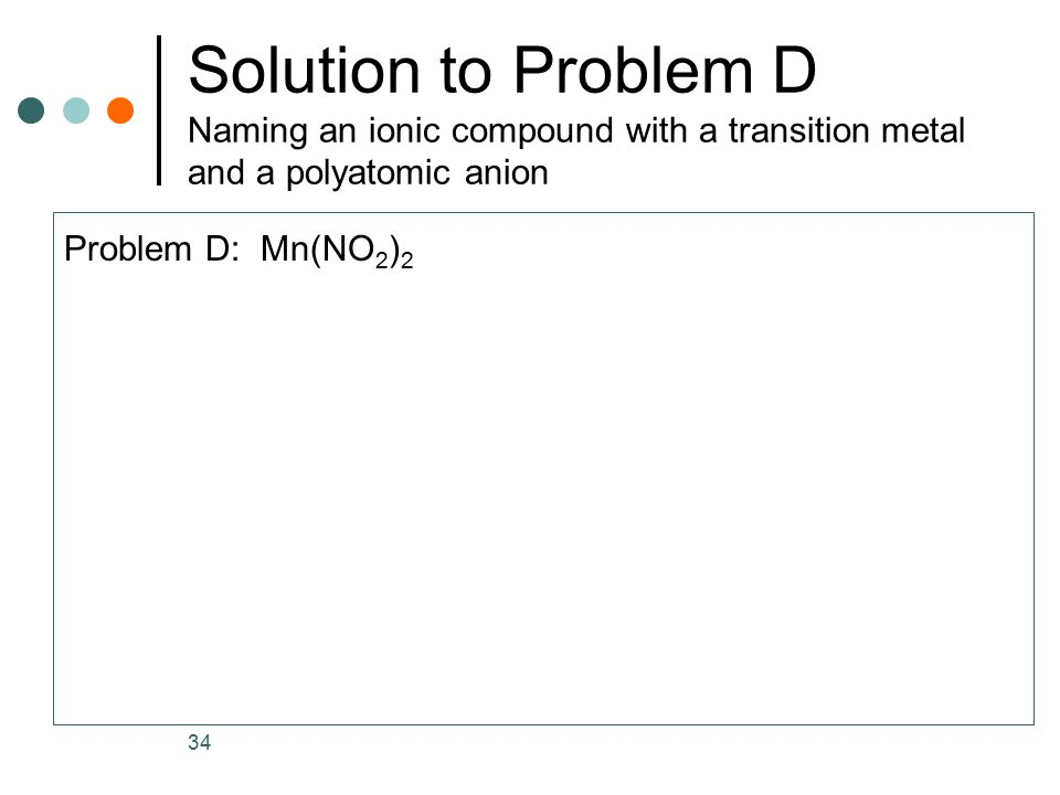 Solution to Problem D Naming an ionic compound with a transition metal and a polyatomic anion