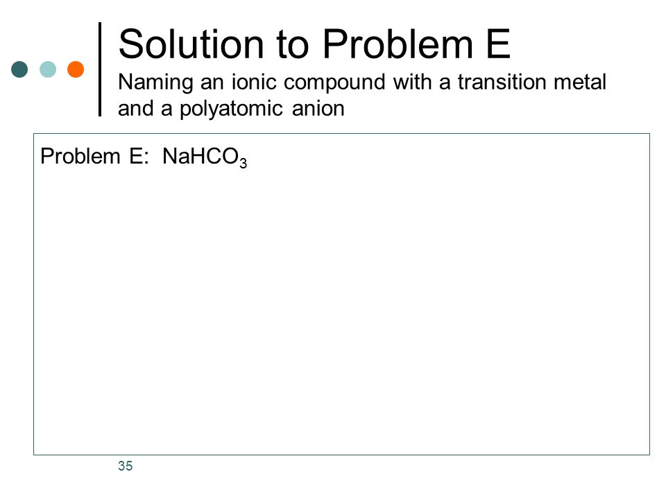 Solution to Problem E Naming an ionic compound with a transition metal and a polyatomic anion