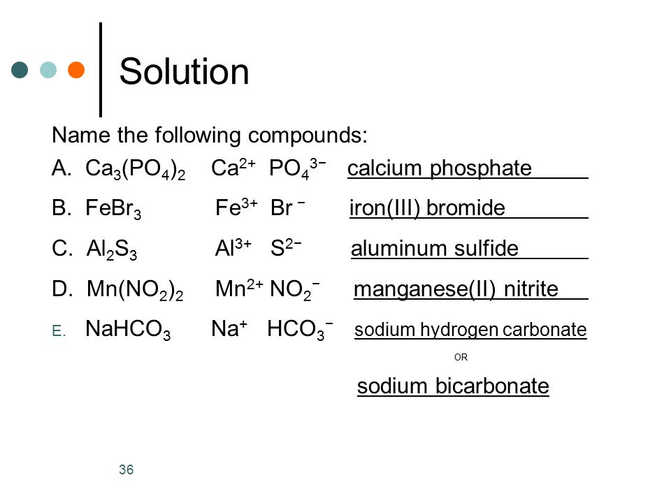 Solution Name the following compounds: