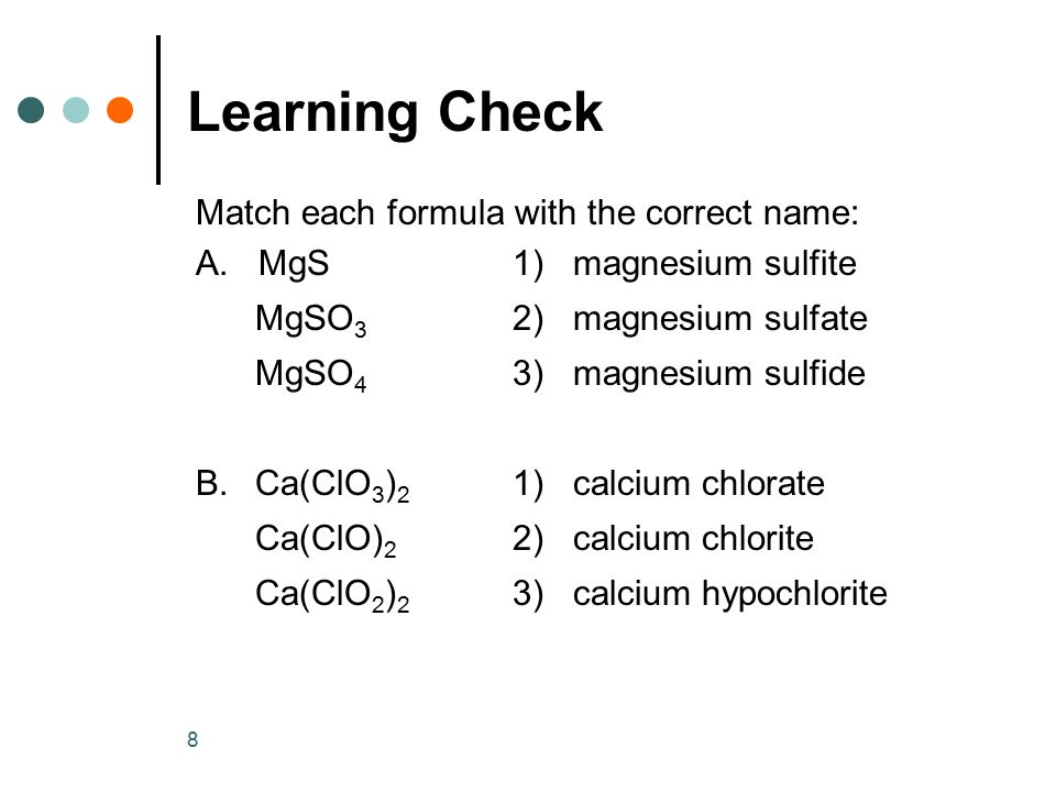 Learning Check Match each formula with the correct name: