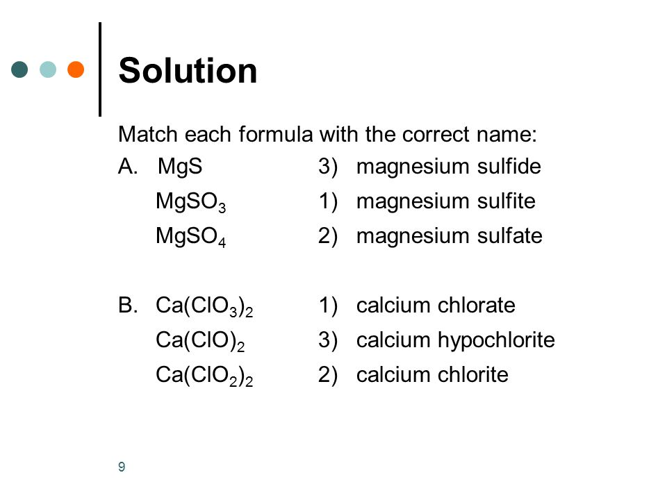 Solution Match each formula with the correct name: