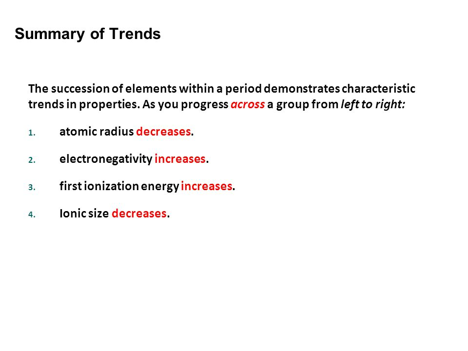 Section Assessment Summary of Trends