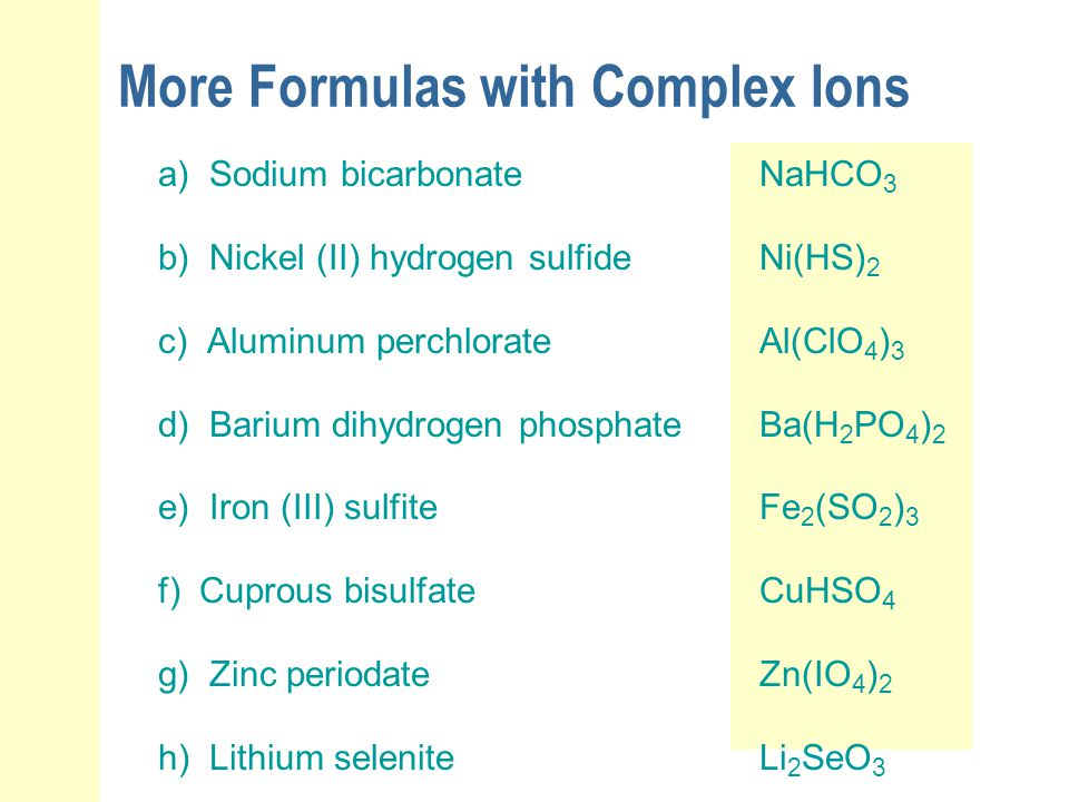 More Formulas with Complex Ions