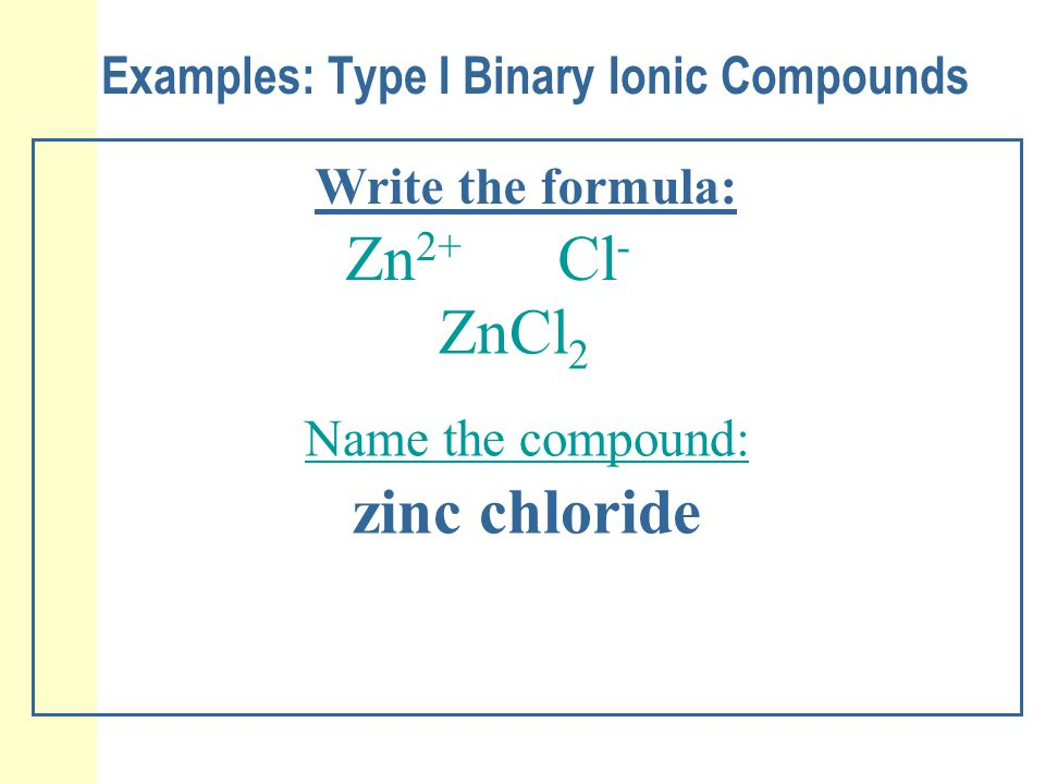 Examples: Type I Binary Ionic Compounds