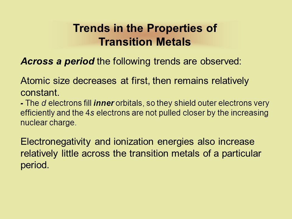 Trends in the Properties of Transition Metals