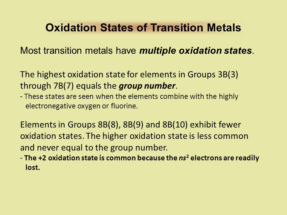 Oxidation States of Transition Metals