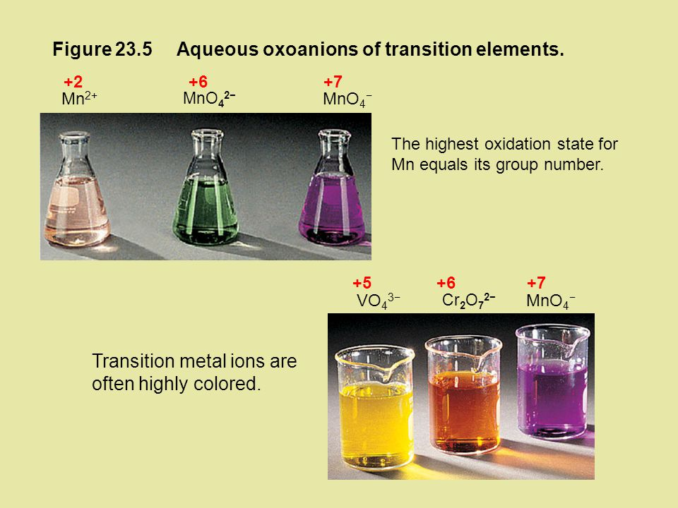 Aqueous oxoanions of transition elements.