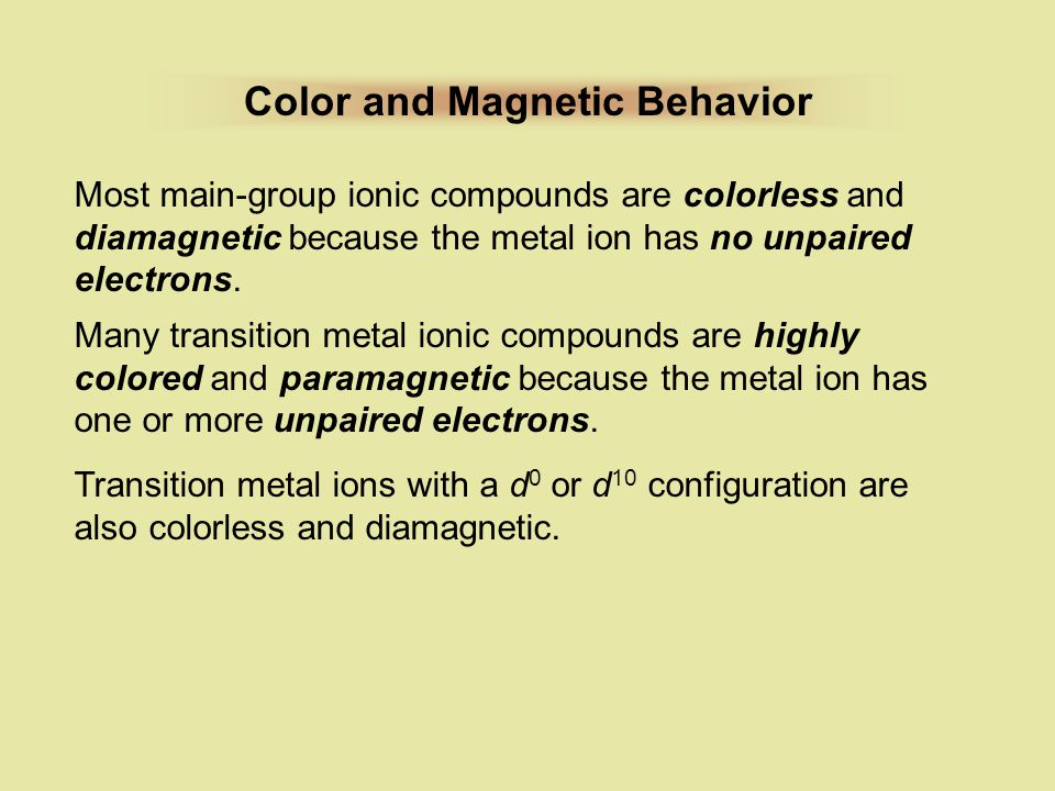 Color and Magnetic Behavior